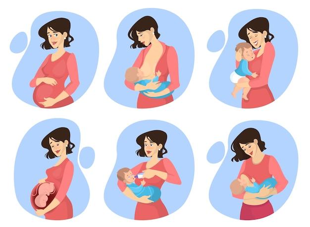 Conjunto de embarazo y maternidad. mujer recién nacido amamantando
