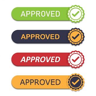 Conjunto de emblema aprobado con icono de marca en un diseño plano con sombra