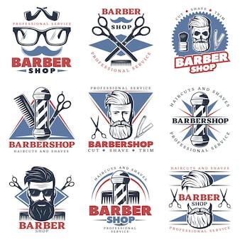 Conjunto de emblema de barbería
