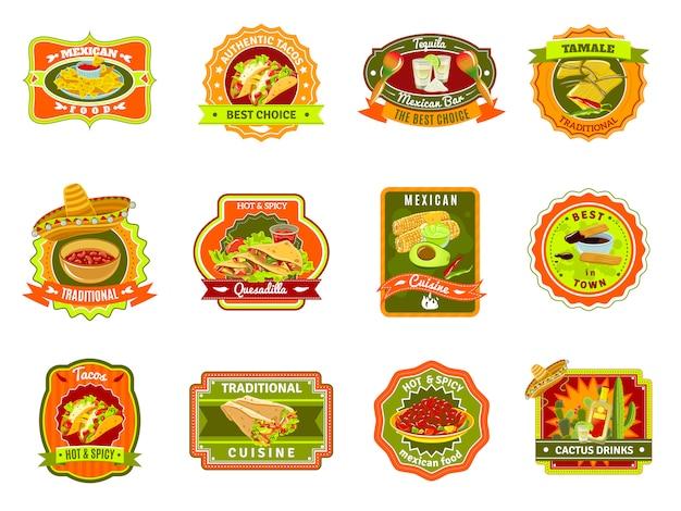 Conjunto de emblema de comida mexicana