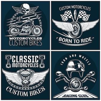 Conjunto de emblema detallado de motocicleta con descripciones de bicicletas personalizadas nacidas para montar motocicletas clásicas y una ilustración de vector de club de carreras