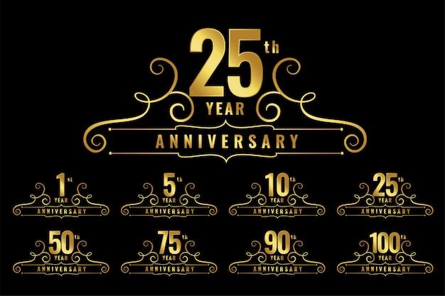 Conjunto de emblema de logotipo de aniversario premium
