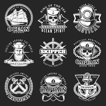Conjunto de emblema de marinero vintage blanco