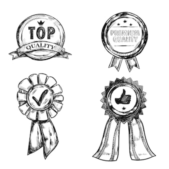 Conjunto de emblema de medalla de calidad de dibujo