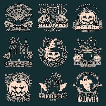 Conjunto de emblema monocromo de halloween