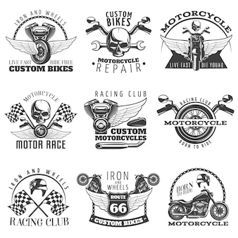 Conjunto de emblema negro de motocicleta con descripciones de bicicletas personalizadas vivir rápido morir joven club de carreras nacido para montar ilustración vectorial