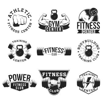 Conjunto de emblema plano de gimnasio retro