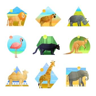 Conjunto de emblema poligonal de animales