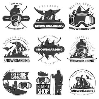 Conjunto de emblema de snowboard aislado negro con títulos de paseo o morir libre de paseo deportes de invierno montaña extrema y tienda de tabla ilustración vectorial
