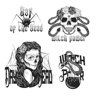 Conjunto de emblema vintage de bruja aislado en blanco