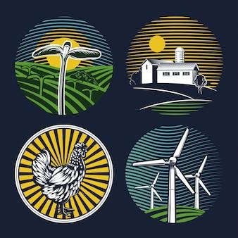 Conjunto de emblemas agrícolas sobre un fondo azul.