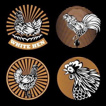 Conjunto de emblemas agrícolas sobre un fondo negro.