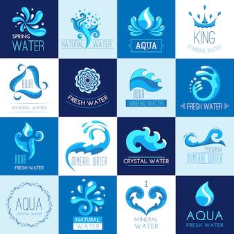 Conjunto de emblemas de agua