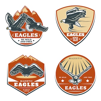 Conjunto de emblemas de águilas americanas vintage de colores