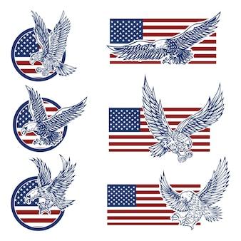 Conjunto de emblemas con águilas en el fondo de la bandera de estados unidos.