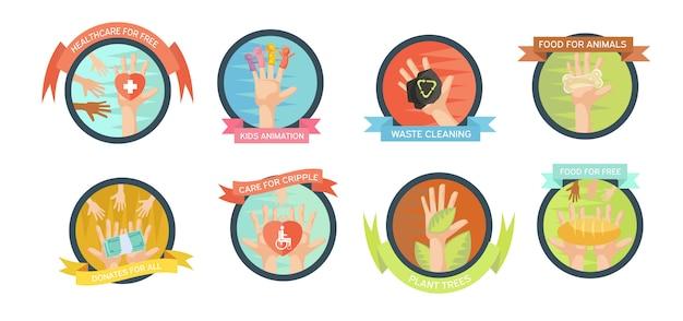 Conjunto de emblemas aislados de voluntariado.