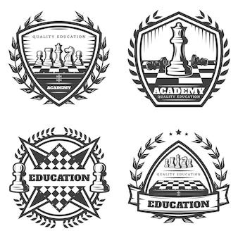 Conjunto de emblemas de ajedrez monocromo vintage