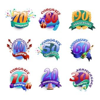 Conjunto de emblemas de aniversario