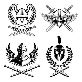 Conjunto de emblemas con arma antigua vikinga.
