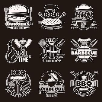 Conjunto de emblemas de barbacoa monocromo