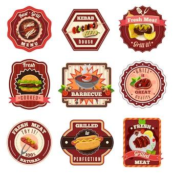 Conjunto de emblemas de barbacoa