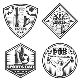 Conjunto de emblemas de barra deportiva vintage