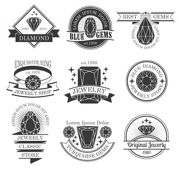 Conjunto de emblemas blancos negros de piedras preciosas