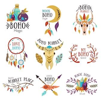 Conjunto de emblemas de boho