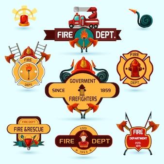 Conjunto de emblemas de bombero