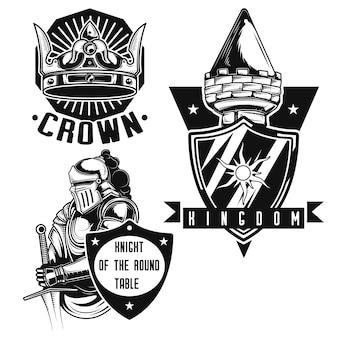 Conjunto de emblemas de caballero