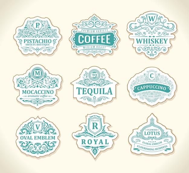 Conjunto de emblemas caligráficos vintage
