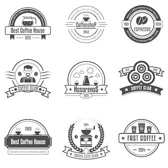 Conjunto de emblemas de la casa de café