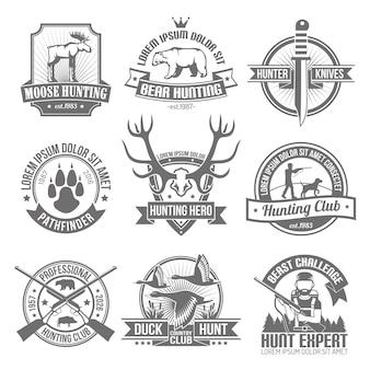 Conjunto de emblemas de caza negro