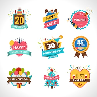 Conjunto de emblemas de celebración
