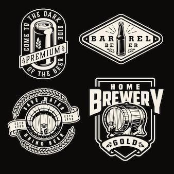 Conjunto de emblemas de cervecería vintage