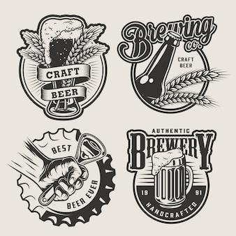 Conjunto de emblemas de cerveza vintage