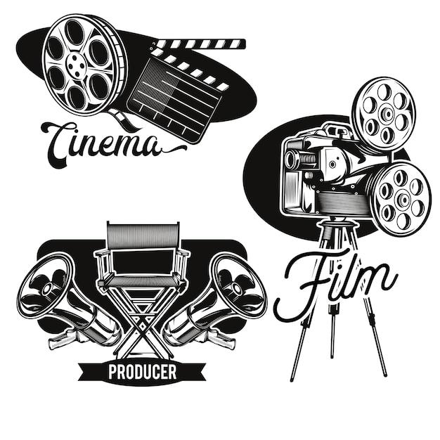 Conjunto de emblemas de cine.