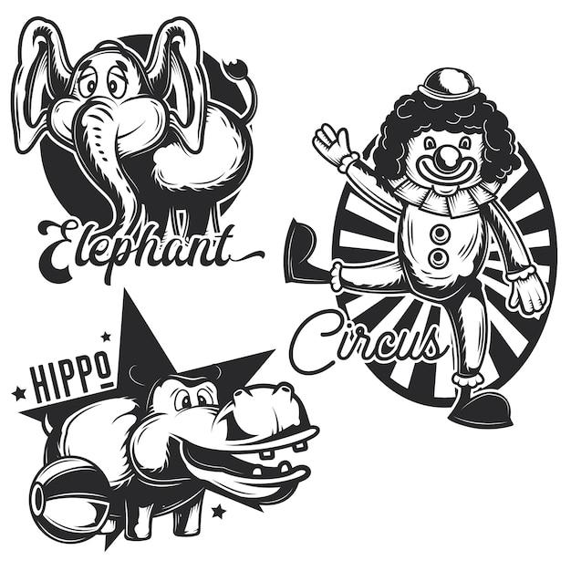 Conjunto de emblemas de circo vintage