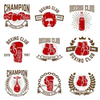 Conjunto de emblemas del club de boxeo. guantes de boxeo. elementos para logotipo, etiqueta, emblema, signo. ilustración