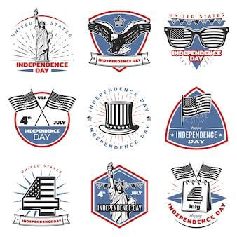 Conjunto de emblemas de color vintage día de la independencia