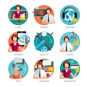Conjunto de emblemas de colores planos de soporte al cliente.