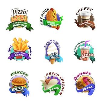 Conjunto de emblemas coloridos dibujos animados fastfood
