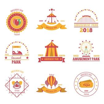 Conjunto de emblemas coloridos del parque de atracciones de nueve composiciones planas con ilustración de imágenes de aeróstato de pabellón y atracción de feria