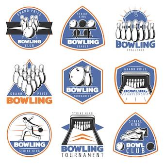 Conjunto de emblemas coloridos de recreación deportiva vintage
