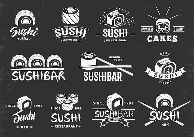 Conjunto de emblemas de comida japonesa tradicional blanca