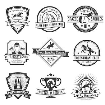 Conjunto de emblemas deportivos ecuestres