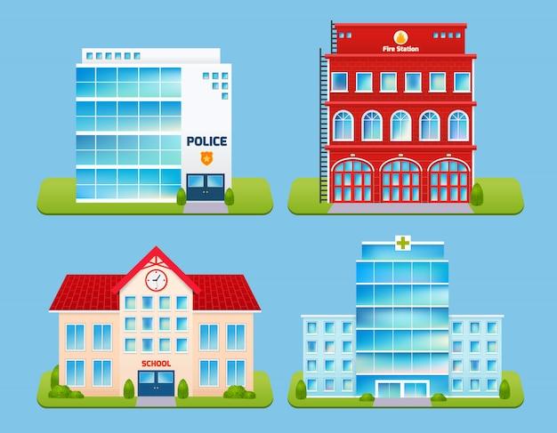 Conjunto de emblemas de edificios
