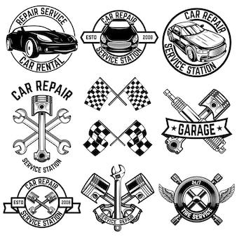 Conjunto de emblemas de estaciones de servicio de automóviles y elementos de diseño.