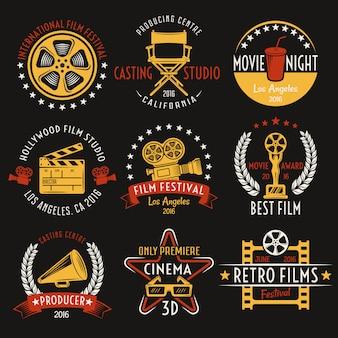 Conjunto de emblemas de estilo retro de cine