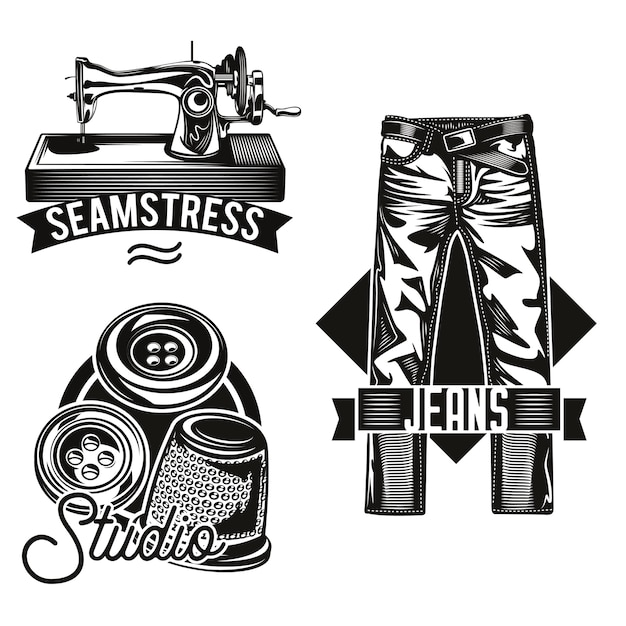 Conjunto de emblemas de estudio de costura